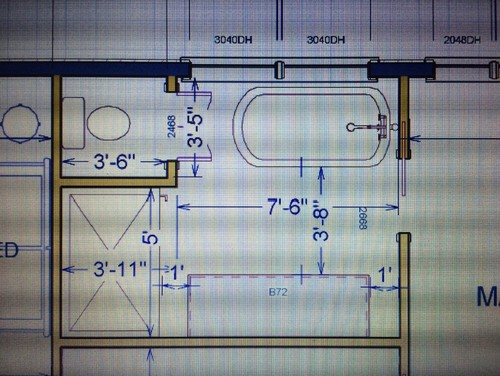 Master bath layout help please for Master bathroom layout dimensions