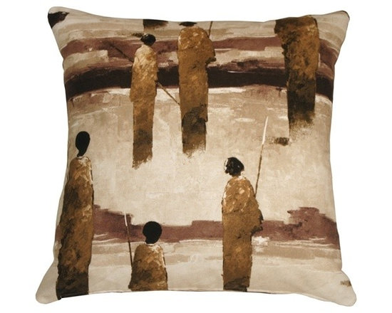 Pillow Decor - Pillow Decor - Masai Warrior 22 x 22 Throw Pillow - With bold brush strokes, this artistic throw pillow depicts African Masai warriors standing with spears at the ready. This is a wonderful throw pillow and a perfect addition to any home short on wall space upon which to display fine art.