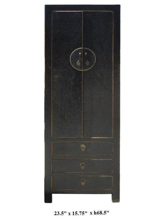 Chinese Silk Lacquer Solid Wood Moon Face Hardware Black Cabinet - This black cabinet is made of solid elm wood and has exquisite silk lacquer. Silk lacquer is famous for its charming rustic net line effect and extra protection for scratches.