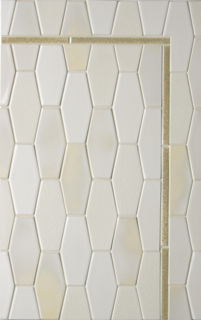 Elongated Hex tile eclectic bathroom tile