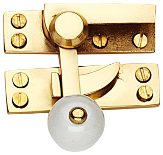"Sash Window Locks Solid Brass 2 3/4"" L Window Lock Porcelain Knob ..."
