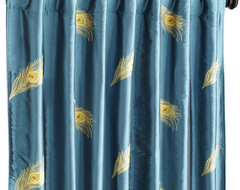 Peacock Feather Window Panel contemporary-curtains