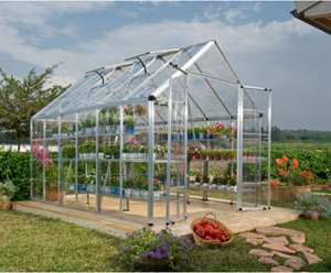 Palram Snap and Grow 8' x 20' Hobby Greenhouse - Silver modern-greenhouses
