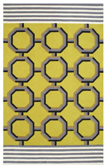 Leopold Chartreuse Geometric Patterned Rug eclectic-rugs