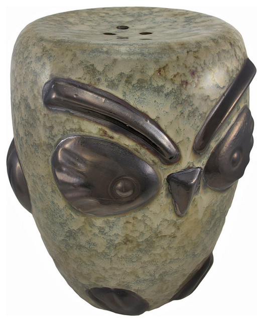 Ceramic Owl Garden Stool Plant Stand Outdoor Accent