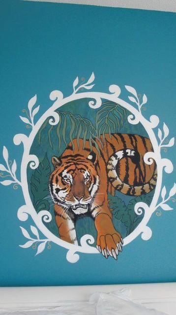 Tiger mural tropical artwork
