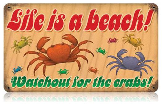 Life's a Beach Crabs Vintage Metal Sign modern-home-decor