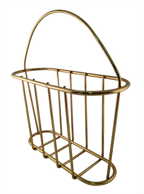 brass finish vintage wire magazine holder traditional. Black Bedroom Furniture Sets. Home Design Ideas