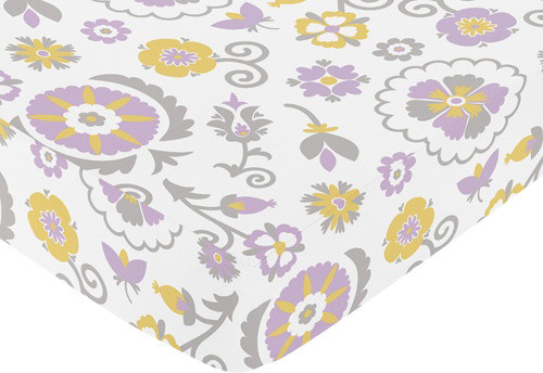 Suzanna Floral Print Crib and Toddler Sheet by Sweet Jojo Designs traditional-kids-bedding