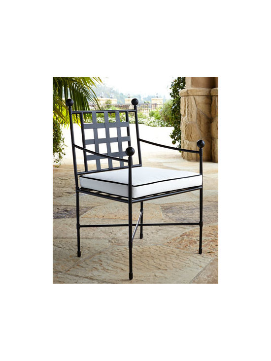 "Horchow - Neoclassical Dining Chair - Outdoor dining should be both stylish and comfortable. This cushioned dining chair makes sure it is. Made of powder-coated metal. 4""T water-repellent/resistant polyester-covered cushion. Outdoor safe. 25""W x 25""D x 38""T. Imported. Boxed weight, a..."