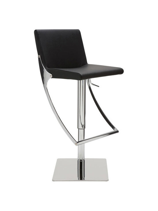 Swing Barstool - Swing is an elegant modern stool with a chrome steel frame and a high polished stainless steel base. Swing stool is upholstered in white, grey or black Naugahyde eco leather. Dimensions: 16W x 19D x 30 to 40H; seat height 20 to 30; seat depth 15 (inches).