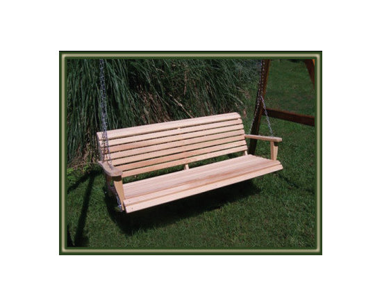 Porch Swing - Handmade from Louisiana Cypress, the Cypress Moon Porch Swing is naturally beautiful and will accent any front porch or yard!  See more porch swings here: http://www.cypressmoonporchswings.com/wooden-porch-swings.html
