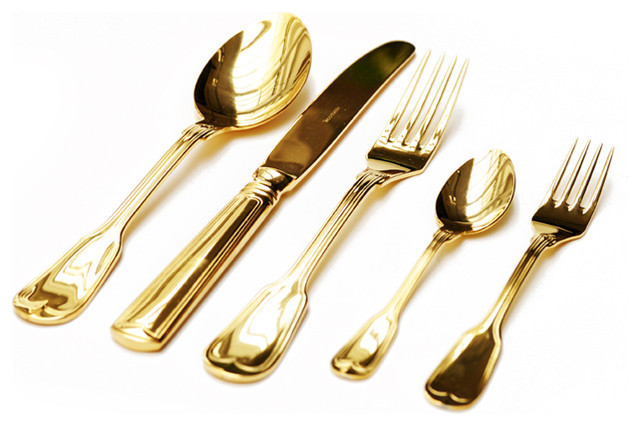 Gold Plated Cutlery Set - Contemporary - Flatware And Silverware Sets - by emeraldfish.com