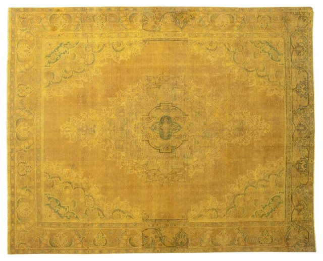 Old Persian Tabriz Hand Knotted Area Rug Gold Overdyed 100