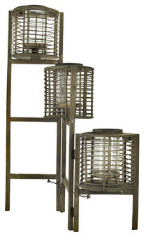 Wooden Folding 3 Lantern Candle Display traditional-candleholders