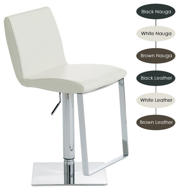 Lewis Adjustable Stool, Set of 2, Brown Leather modern-bar-stools-and-counter-stools