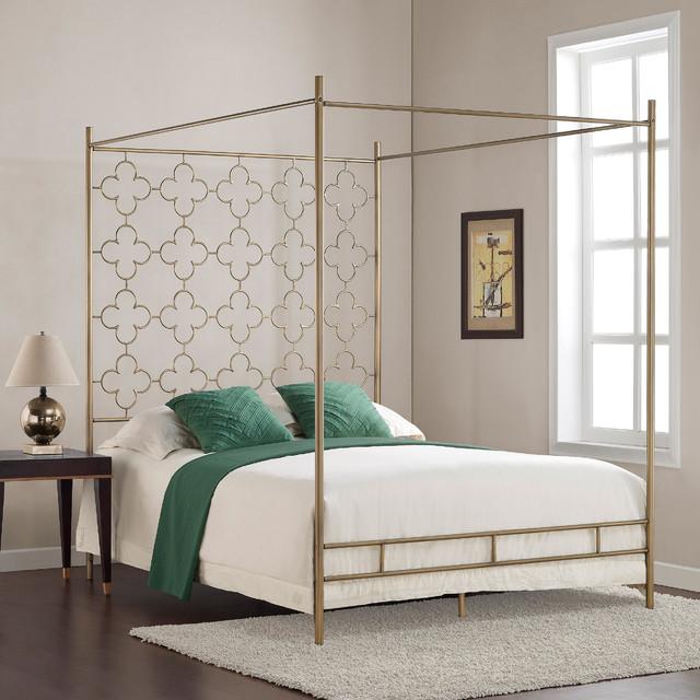 Retro Glitz Quatrefoil Queen Canopy Bed Contemporary Canopy Beds