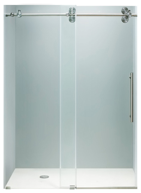 "VIGO 48-inch Frameless Shower Door 3/8"" Clear/Stainless Steel Hardware modern-shower-doors"