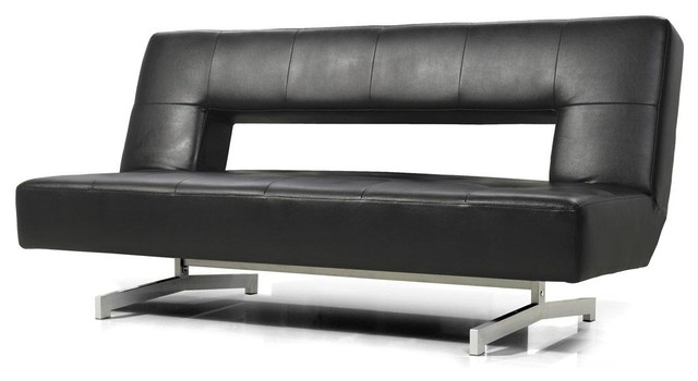 0926 Black Eco Leather Sofa Bed Modern Futons By New York Furniture Outlets Inc