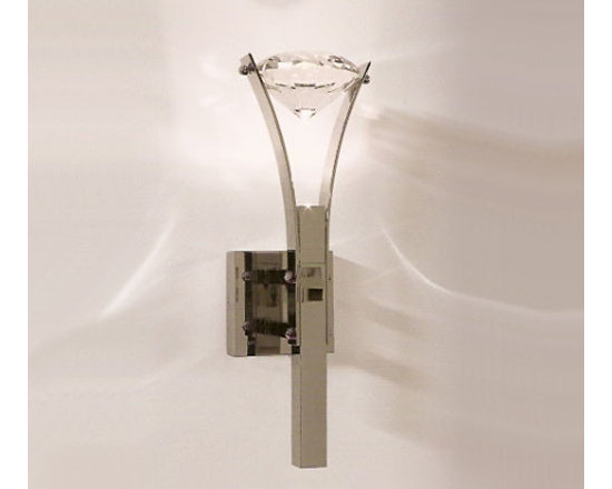 Elements Of Love Wall Lamp by Ilfari - The Elements Of Love Wall lamp features a thick metal rod with a curved shape to hold a decorative diamond shaped crystal.