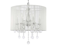 Crystal chandelier with Large White Shade traditional-chandeliers