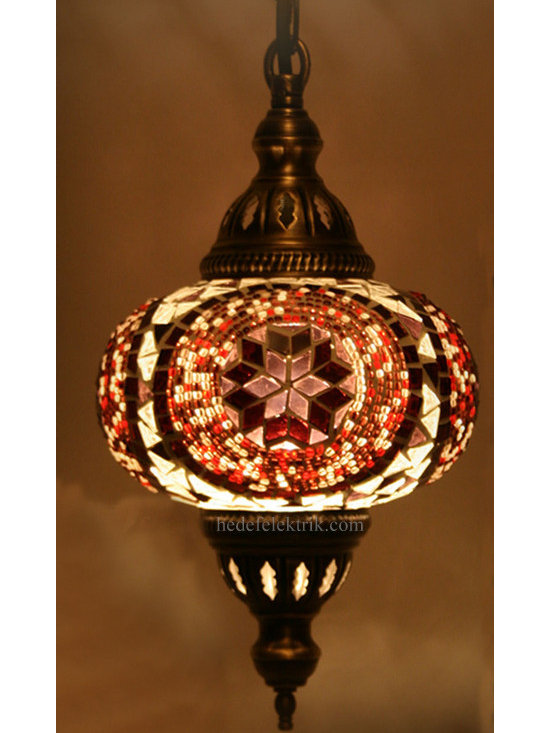 Turkish Style Mosaic Pendant Lamp 15 cm - Mosaic lamps are made of original colour of glasses. When the lamp is lit, the glasses cause colorful shades, which can suddenly change the ambiance of a room by its inspiring view. Noe of the glasses are painted nor applied a transaction. Each parts of the lamp are handmade.