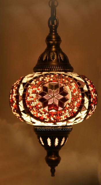 Turkish Style Mosaic Pendant Lamp 15 Cm Mediterranean