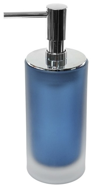 Frosted glass soap dispenser blue contemporary bath for Blue glass bath accessories