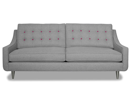 Apt2B.com - Cloverdale Sofa Grey, Mountain Grey/Pink Lemonade - This cozy sofa is as comfortable as it is sophisticated. With an unexpected pop of color in the button tufting and a nice deep seat it's a perfect place to cuddle up with your date.