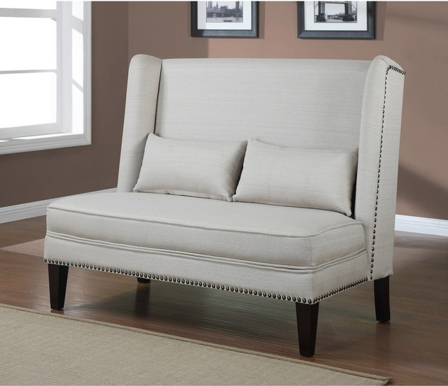 Tufted Wingback Loveseat Dining Bench