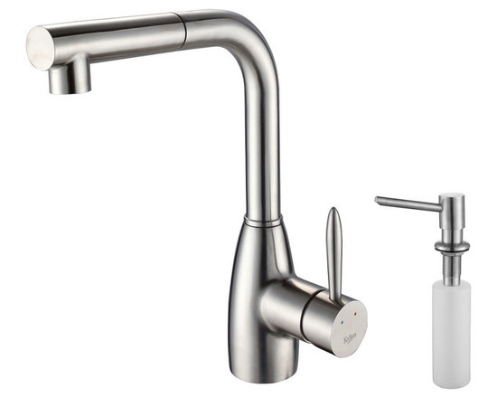 Kraus - Kraus KPF-2140-SD20 Single Lever Stainless Steel Pull Out Kitchen Faucet - Update the look of your kitchen with this Kraus pull-out faucet