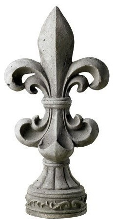 Decorative gray stone fleur de lis 19 high vintage home for Fleur de lis home decorations