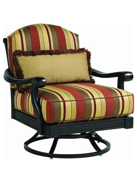 Lexington - Tommy Bahama Kingstown Sedona Swivel Lounge Chair - The cushion set includes a 27 x 12 inch kidney pillow that provides lower back support but also allows for custom details whether contrasting fabric, decorative cord or decorative fringe. The swivel mechanism allows for ease of movement.