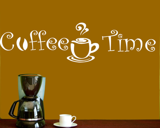 Vinyl Decals Coffee Time Cup Beans Quote Home Wall Decor Removable Sticker Mural -