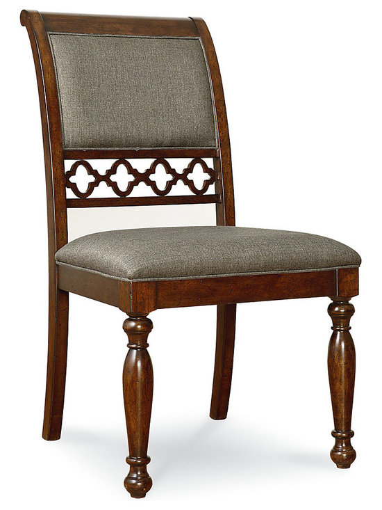 Thornhill Upholstered Side Chair, Set of 2 - Perfectly suited to the stylish home, this set of two upholstered side chairs come to life with sophisticated open fretwork. Upholstered in beautiful gray fabric and finished in a warm cinnamon, these chairs are created from poplar solids and cathedral cherry veneer. Without a doubt, the highlight of these gorgeous chairs is the open fretwork exquisitely presented on the chair back. Relaxed refinement and casual elegance are abundant in these charming side chairs.