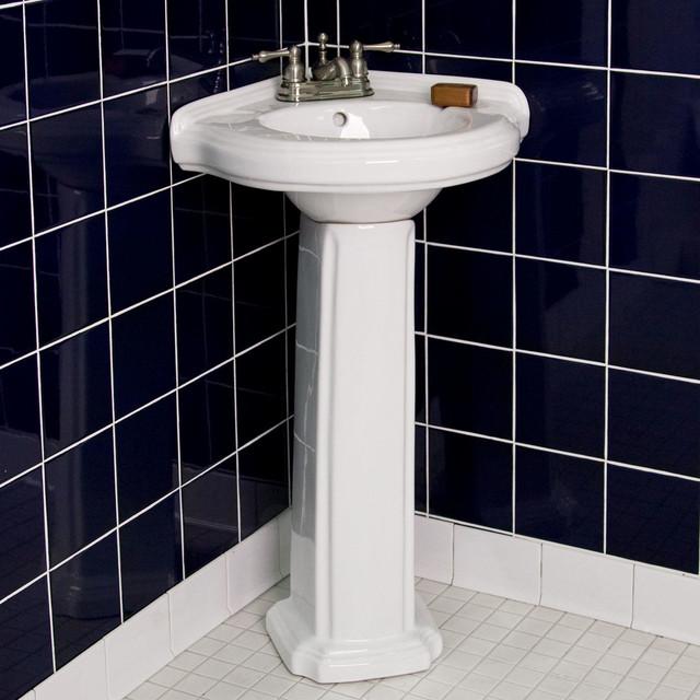 Gaston Corner Pedestal Sink contemporary-bathroom-sinks