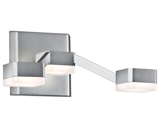 """Sonneman - Sonneman Lattice 4 3/4"""" High Frosted Nickel LED Sconce - Lattice 3-light bathroom light or wall sconce. By Sonneman. Bright satin aluminum finish. Frosted acrylic shades. Includes three 8 watt LEDs. Light output is 630 lumens. Comparable to a 60 watt incandescent bulb. 3000K color temperature. CRI is 80. Dimmable. 11"""" wide. 4 3/4"""" high. Extends 8 1/4"""" from the wall. Backplate is 4 3/4"""" high 5"""" wide.  Lattice 3-light bathroom light or wall sconce.  By Sonneman.  Bright satin aluminum finish.  Frosted acrylic shades.  Includes three 8 watt LEDs.  Light output is 630 lumens.  Comparable to a 60 watt incandescent bulb.  3000K color temperature.  CRI is 80.  Dimmable.  11"""" wide.  4 3/4"""" high.  Extends 8 1/4"""" from the wall.  Backplate is 4 3/4"""" high 5"""" wide."""