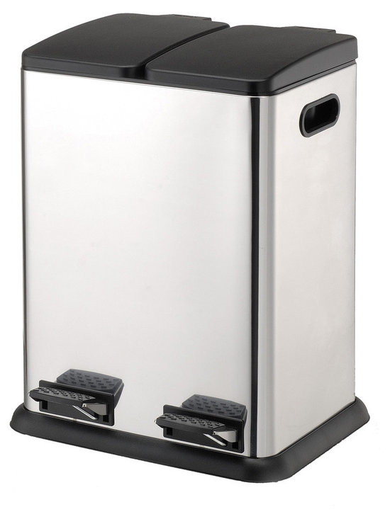 Dual Compartment Step-On Recycling Bin - Stainless Steel -