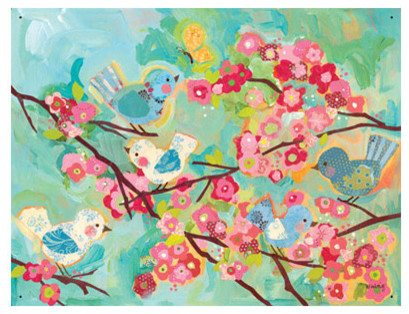 Oopsy Daisy Wall Mural Cherry Blossom Birdies eclectic-baby-and-kids