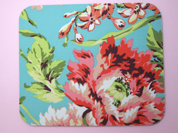 Bliss Bouquet in Teal Fabric Mouse Pad by Gilmore Creations contemporary-desk-accessories