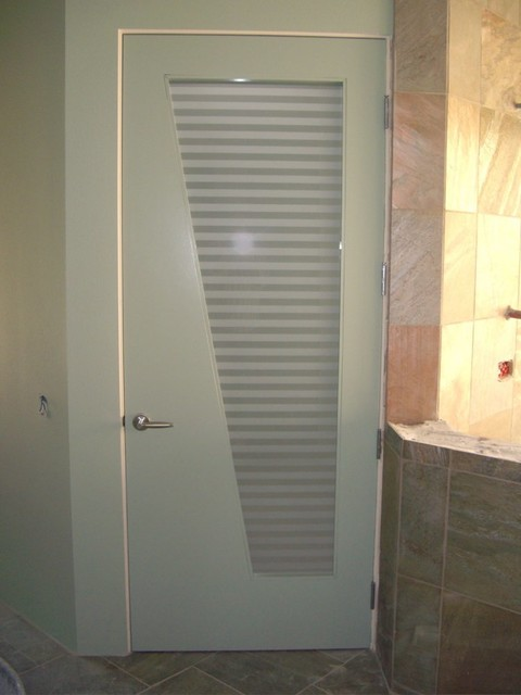 Interior Glass Doors With Obscure Frosted Glass Sleek Bands Bathroom Door Contemporary: bathroom glass doors design