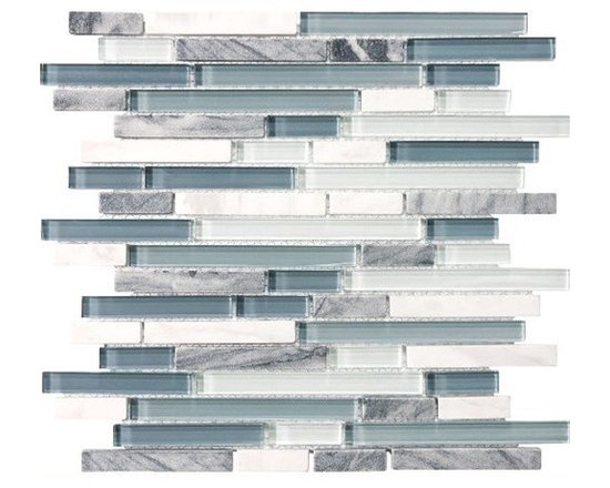 F15 Marina Linear Glass Stone Blend Mosaics - • Length: 12""