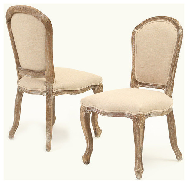 Dominique Weathered Oak Armless Beige Dining Chair Set Of 2 Traditional