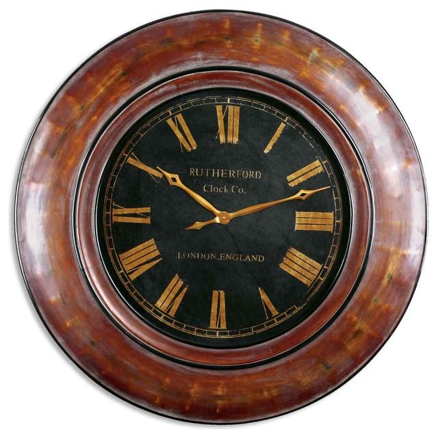 """Tyrell 47"""" Walnut Wall Clock traditional-wall-clocks"""