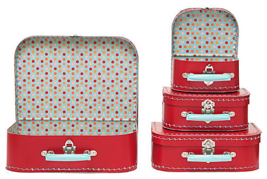 Multi Dots Suitcases contemporary-storage-boxes