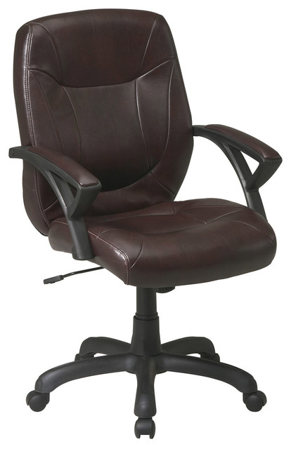 High Back Faux Deluxe Leather Office Chair traditional-task-chairs