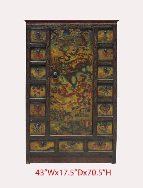 ... Antique Animals Hand Paint Carving Armoire Storage Medicine Cabinet