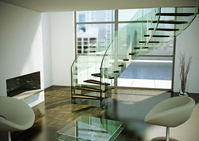 Fly Glass Stair modern-staircase