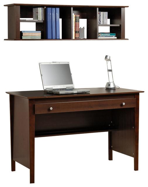 Prepac Sonoma Espresso Contemporary Computer Desk & Wall Mounted Desk Hutch Set - Contemporary ...