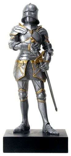 Silver Colored Gothic Knight Design Standing Statue in Full Armor